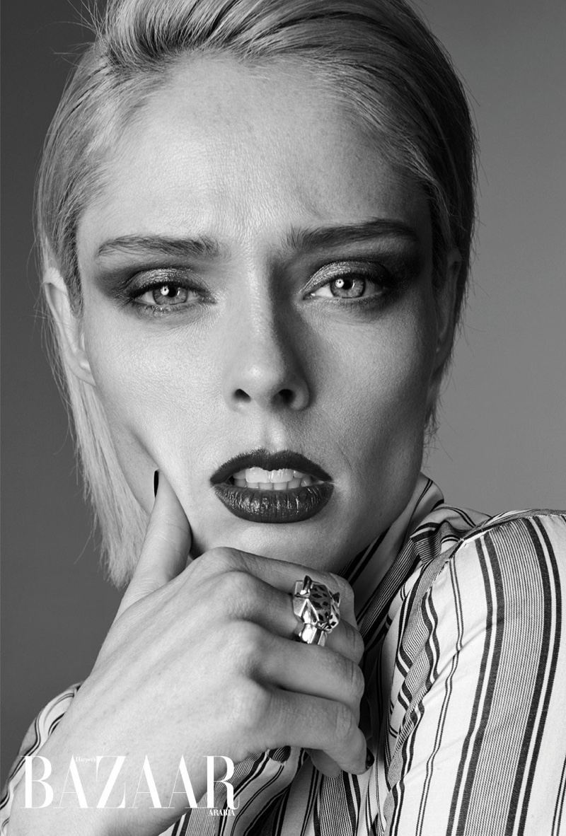 Coco Rocha gets her closeup in this black and white shot