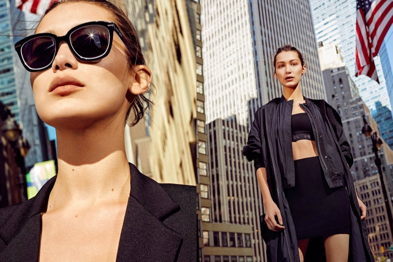 Model Bella Hadid poses in New York for DKNY's spring-summer 2017 campaign