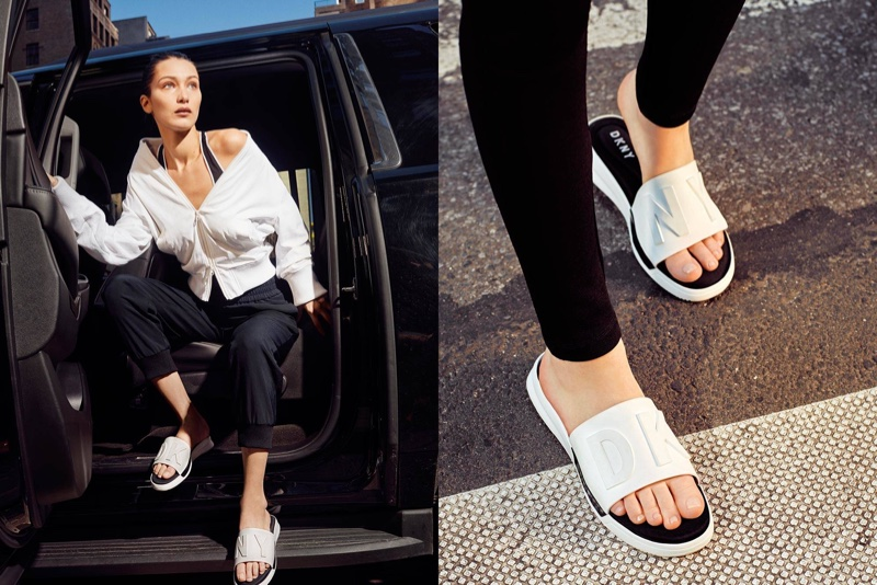 Bella Hadid wears slide sandals in DKNY's spring 2017 campaign