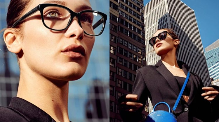 Wearing sleek optical frames, Bella Hadid appears in DKNY's spring 2017 campaign