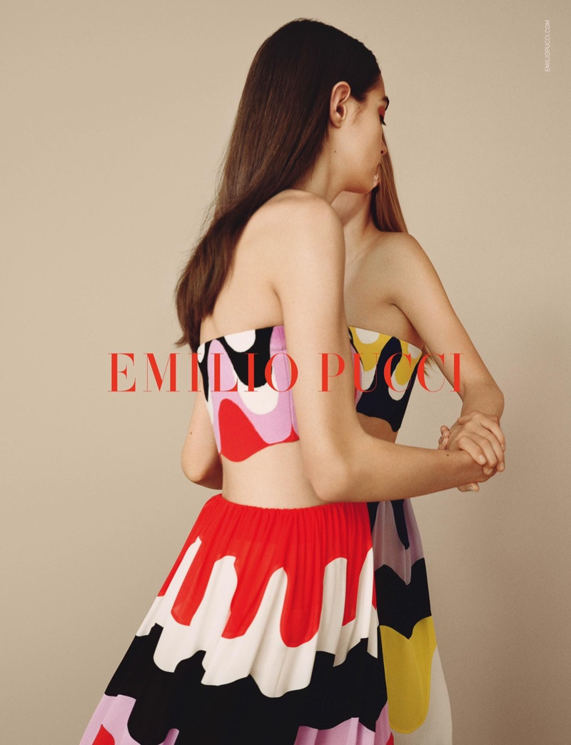 Cropped tops and long skirts are featured in Emilio Pucci's spring-summer 2017 campaign