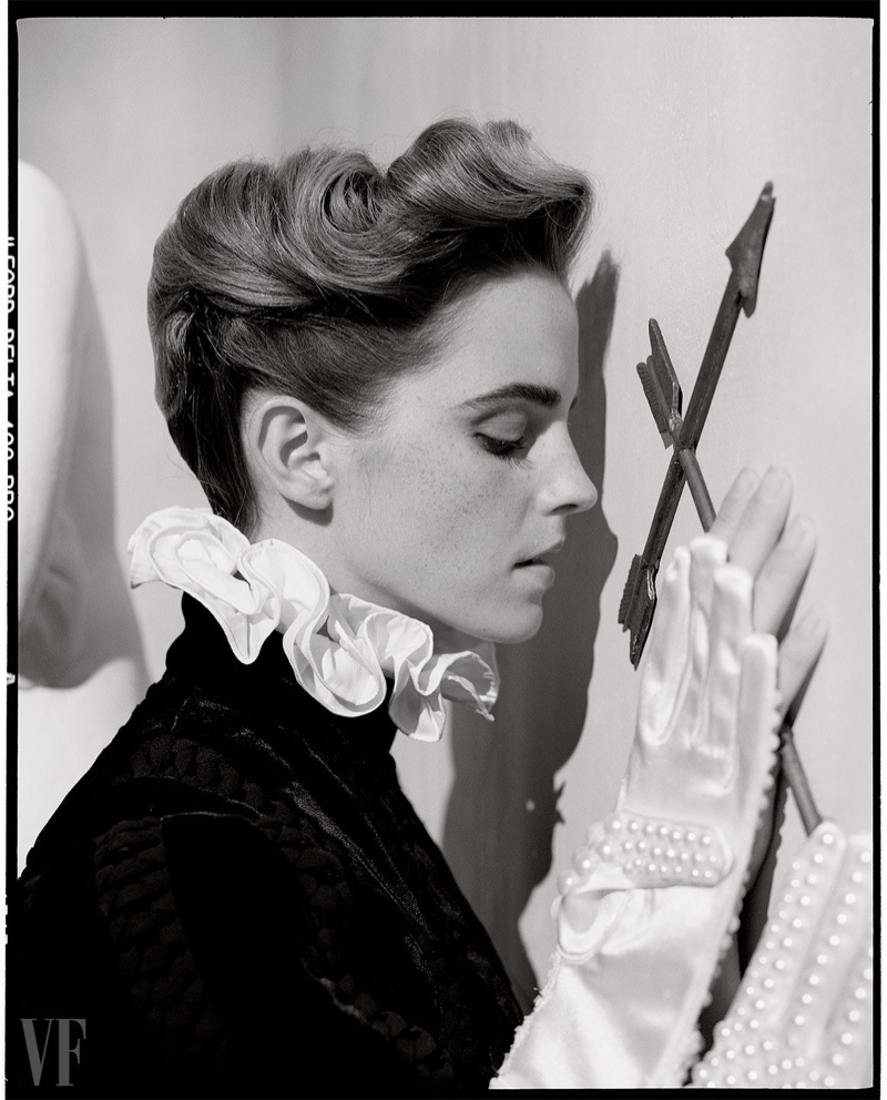 Getting her closeup, Emma Watson wears Valentino Haute Couture clothes with Monique Lee Millinery gloves
