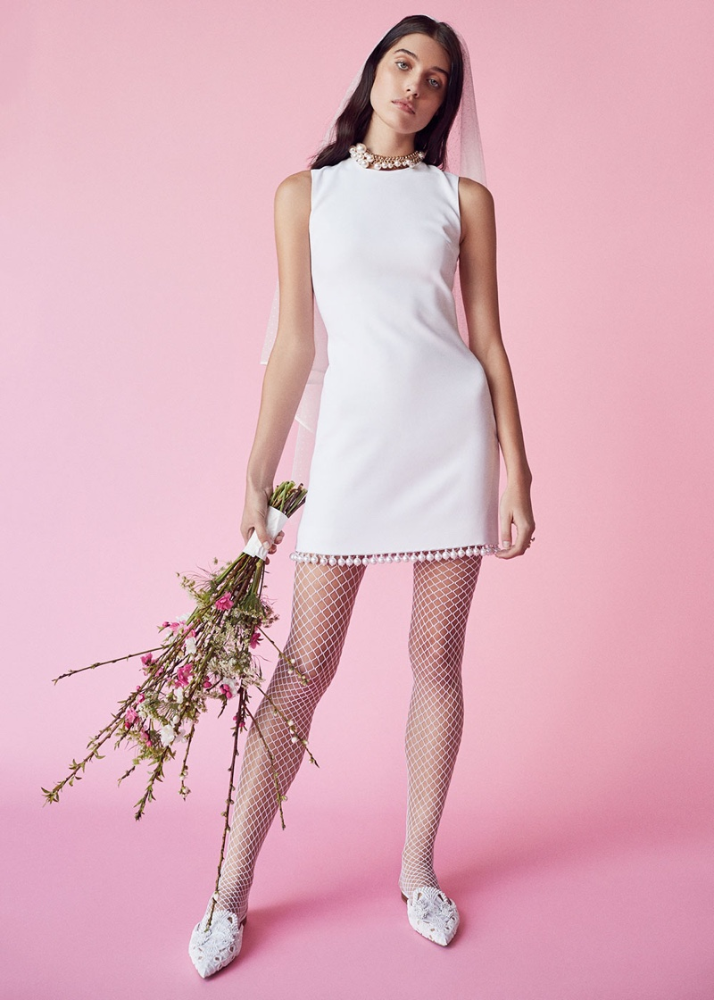 Givenchy Pearl Trim Dress, Lanvin Pearl Choker Necklace and Alberta Ferretti Cotton Beaded Mules
