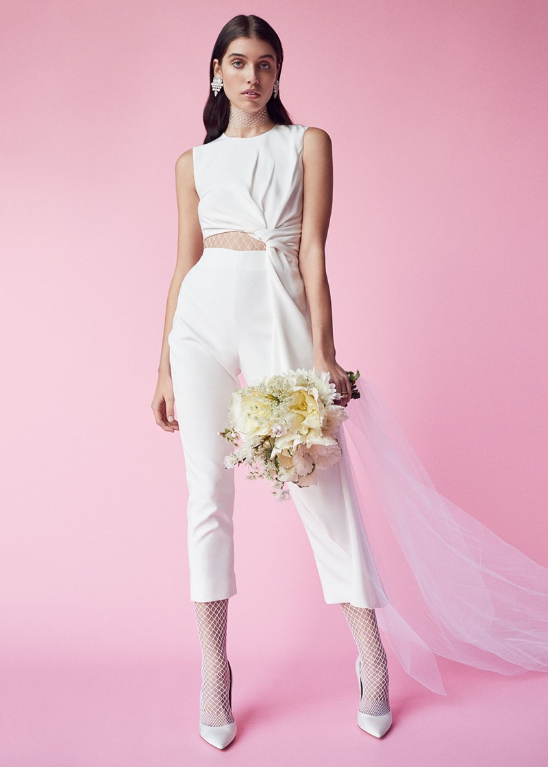 Roksanda Bridal Silk & Bonded Crepe Jumpsuit, Gianvito Rossi Satin Gianvito Pumps and Saint Laurent Small Drop Earrings