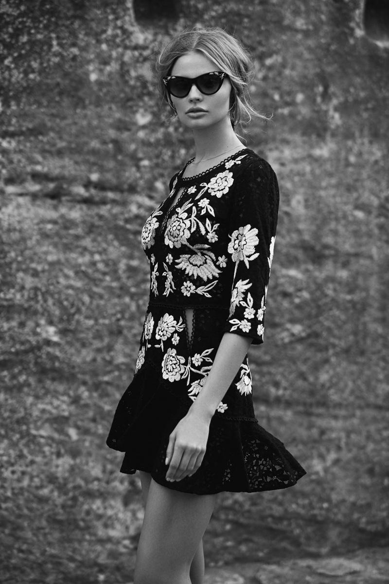Magdalena Frackowiak models For Love & Lemons Mallorca embroidery dress
