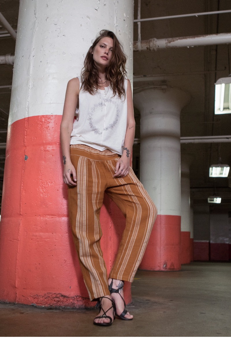 We The Free Daisy Chain Tee, Free People Wide Yoke Pull On Pant and FP Collection Bryn Marr Wrap Sandal