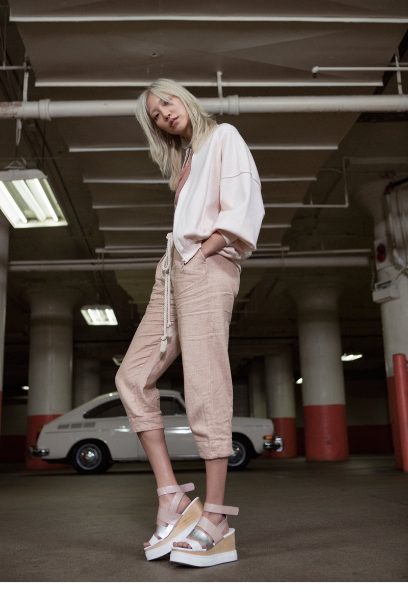 Free People Oversized Knit Quilted Jacket, We The Free Clare Tee, Free People Everyday Chambray Pull-On Pants and Jeffrey Campbell x Free People Sidecar Sport Wedge