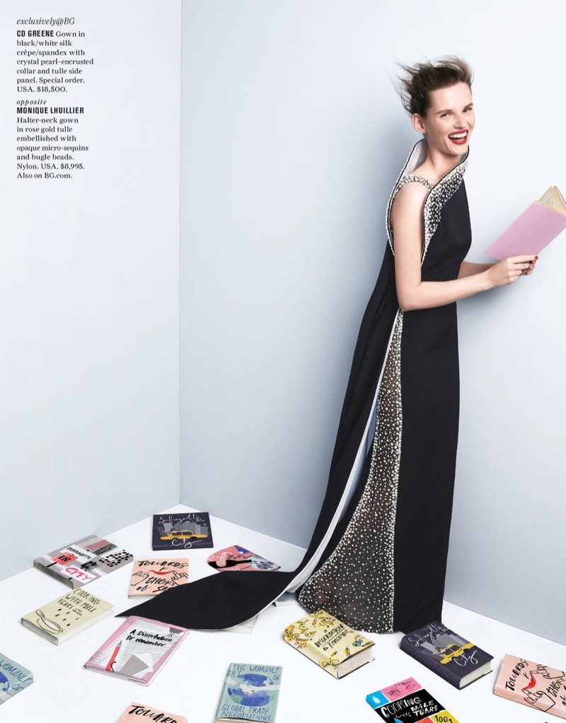 Giedre Dukauskaite models CD Greene gown with crystal and pearl embellishment