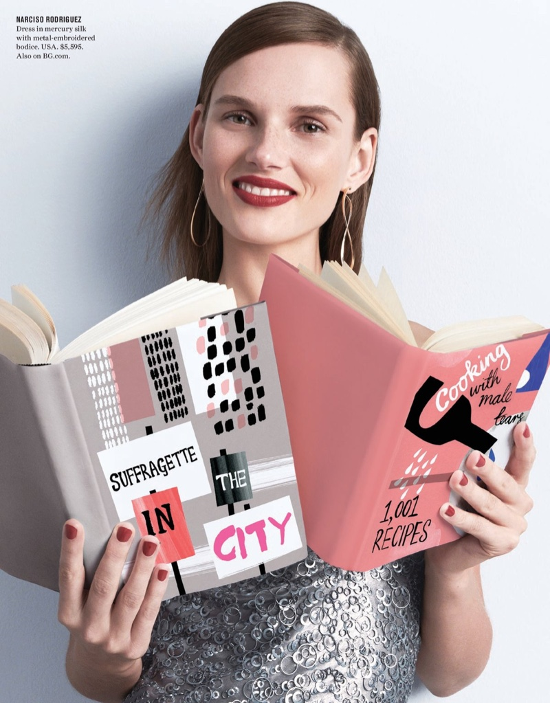Wearing Narciso Rodriguez, the model poses with books in this glamorous shot