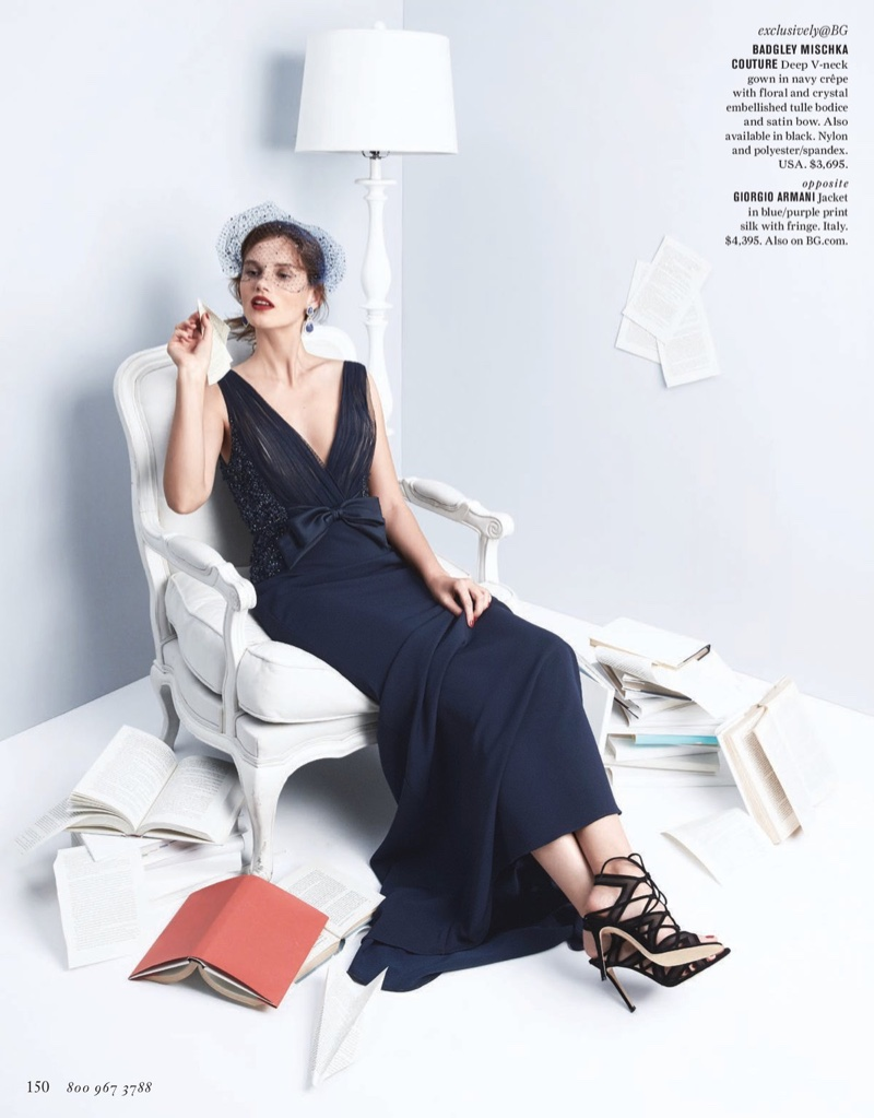 Giedre Dukauskaite wears Badgley Mischka Couture navy crepe gown