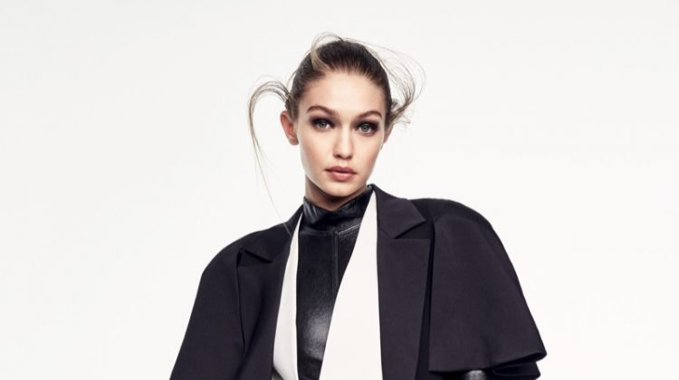 Gigi Hadid poses in total look from Louis Vuitton