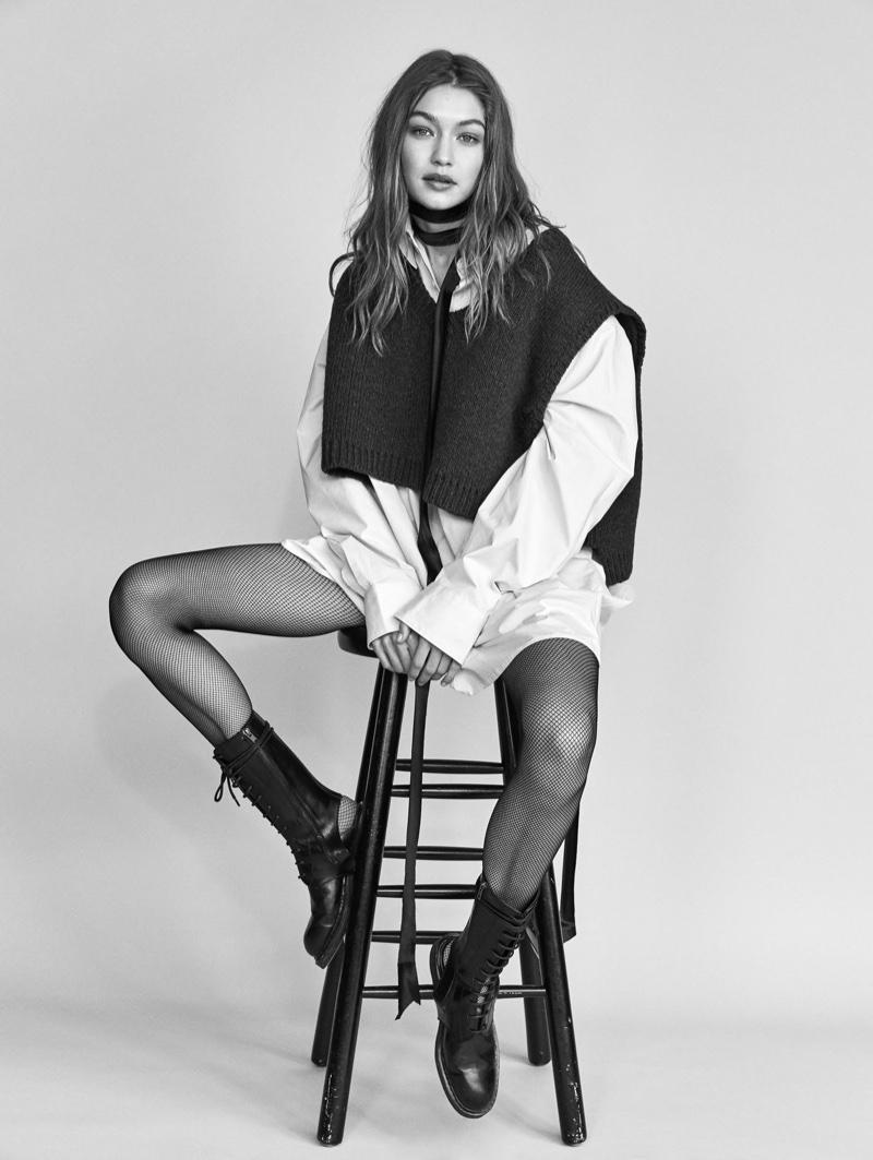 Gigi Hadid looks fashion forward in a layered ensemble