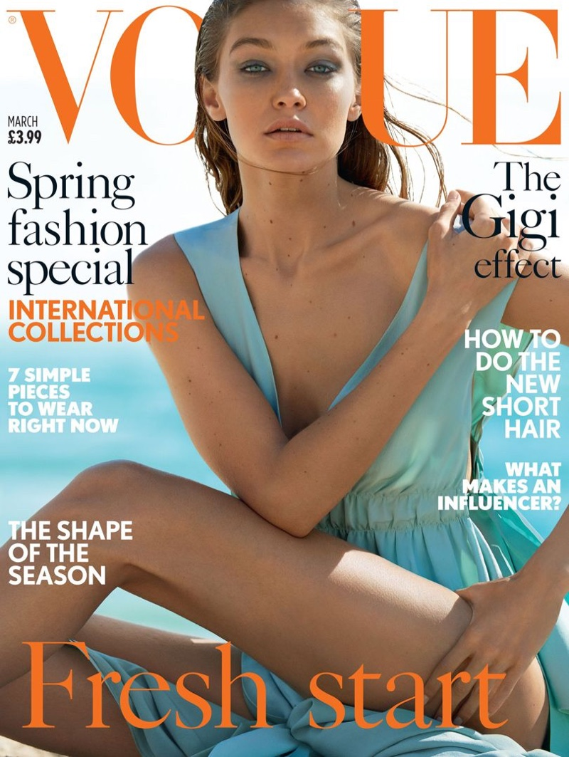 Gigi Hadid on Vogue UK March 2017 Cover