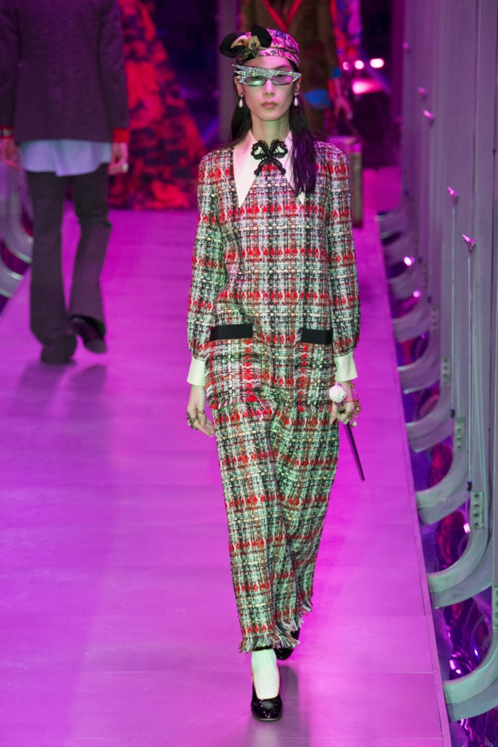 Checkered tweed dress from Gucci's fall-winter 2017 collection