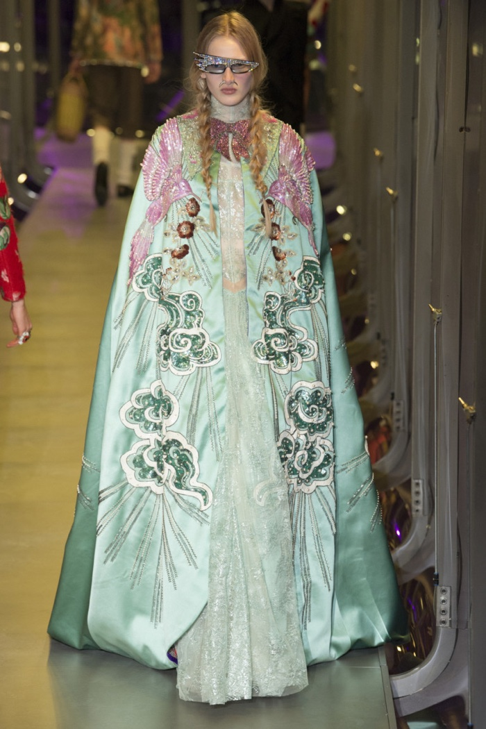 Embroidered cape and gown from Gucci's fall-winter 2017 collection