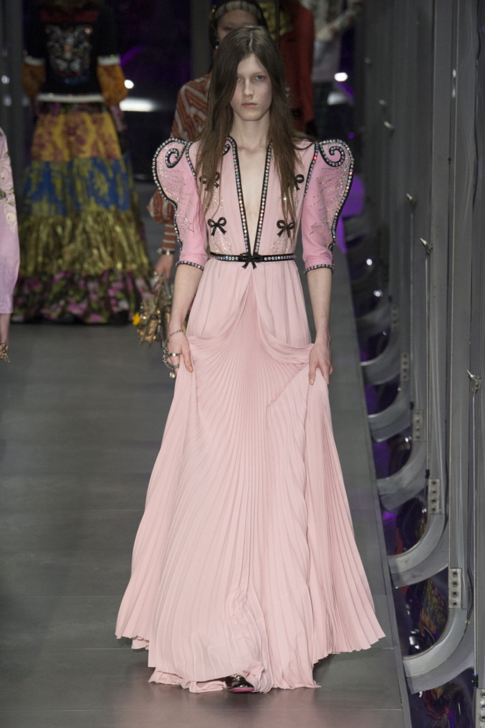 Pink gown with bow and crystal embroidery from Gucci's fall-winter 2017 collection