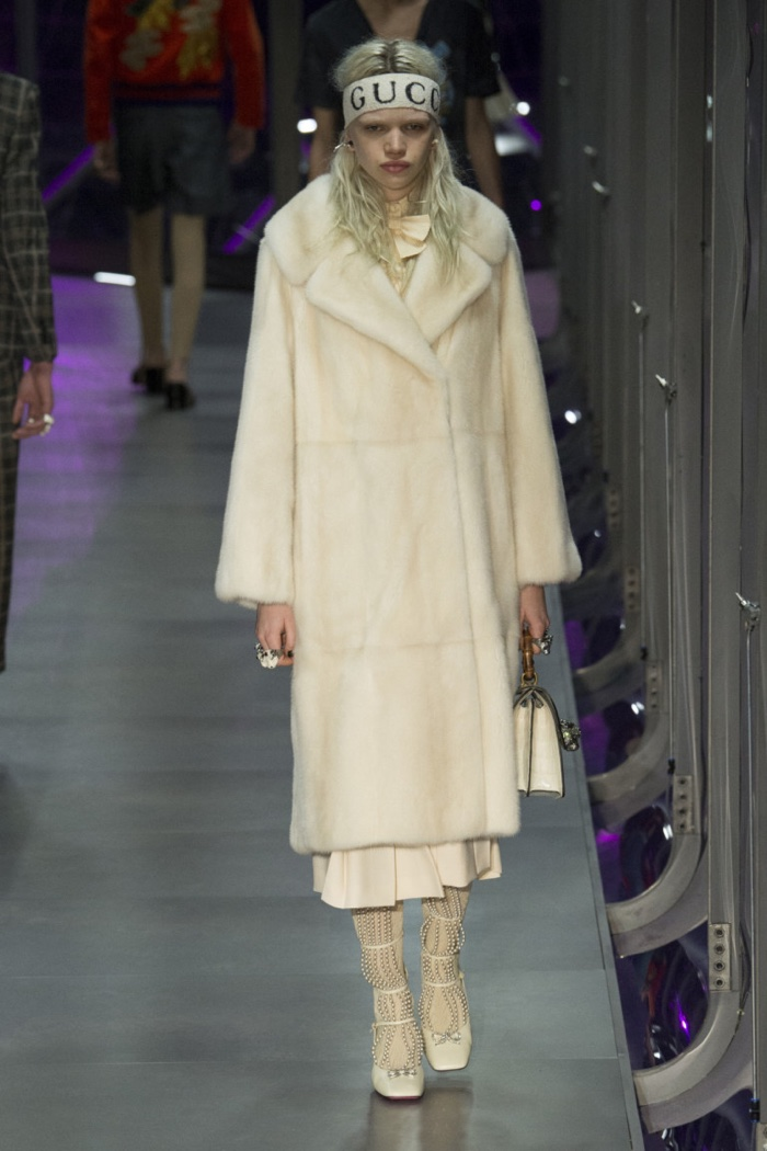 Fur coat and headband from Gucci's fall-winter 2017 collection