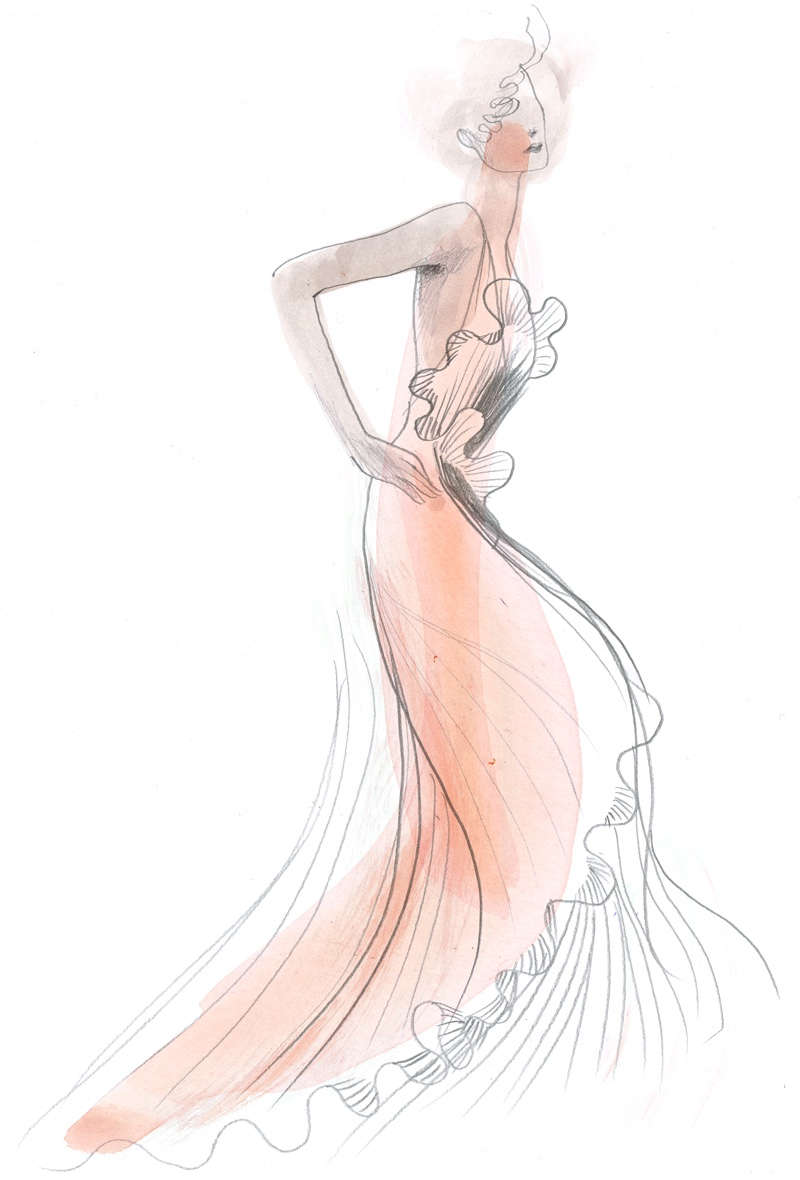 A sketch from H&M Conscious Exclusive's 2017 collection
