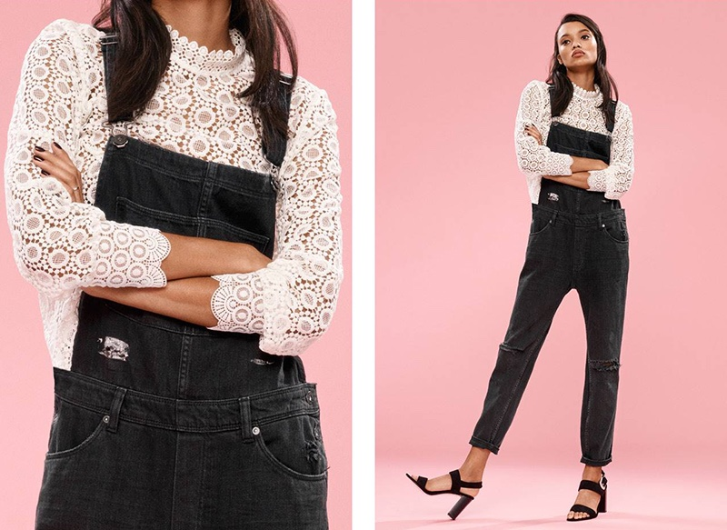 H&M Lace Blouse, Denim Overalls and Imitation Suede Sandals