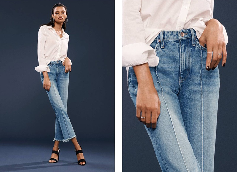 H&M Cotton Shirt, Straight Cropped High Jeans and Imitation Suede Sandals