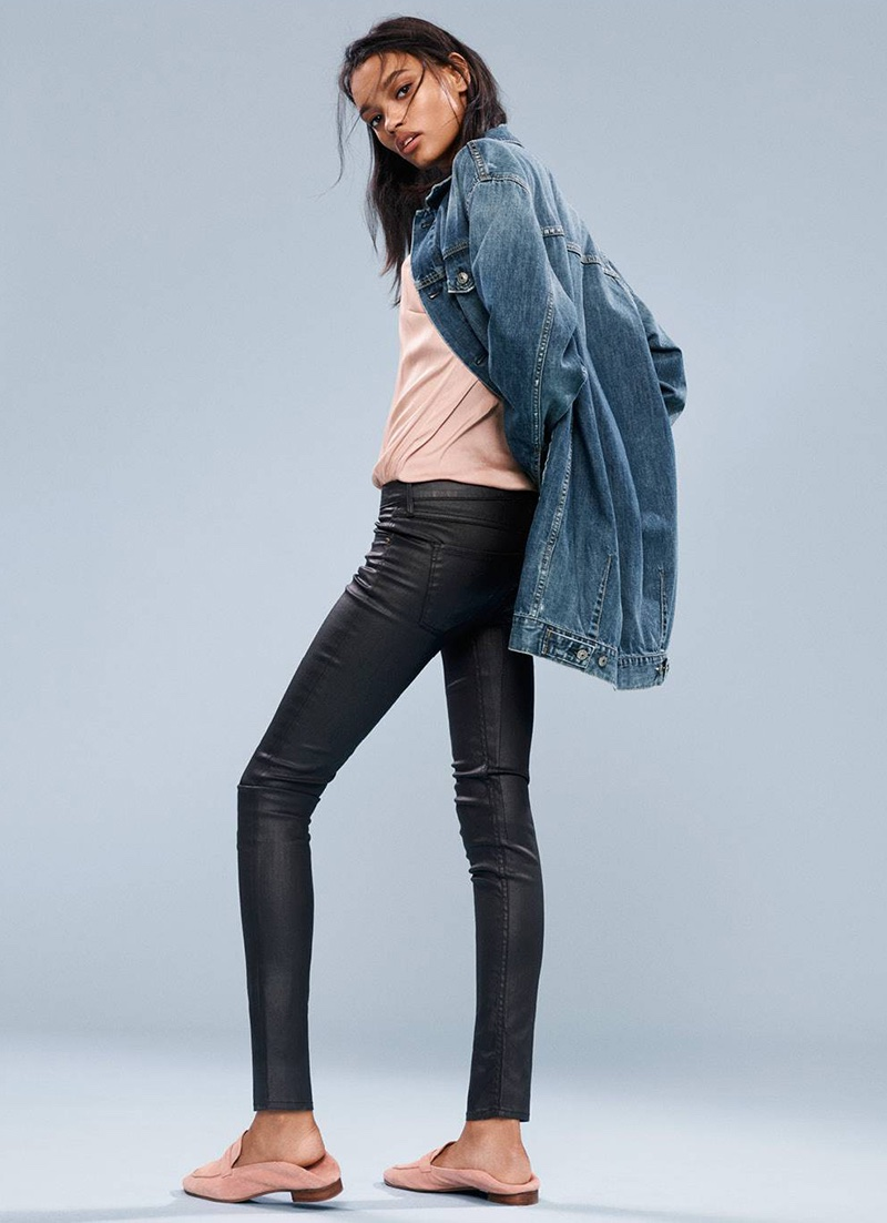 H&M Denim Jacket, Satin Camisole Top with Lace, Coated Skinny Low Jeans and Suede Loafers