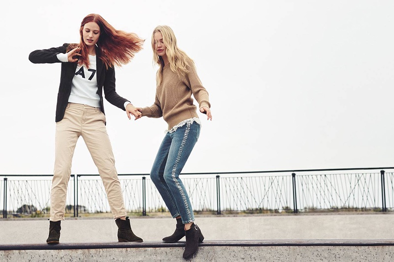 (Left) H&M Cotton Twill Jacket, Sweatshirt with Printed Design, Chinos and Suede Boots (Right) Patent-Knit Sweater, Camisole Top with Lace, Straight High Waist Jeans and Ankle Boots