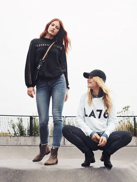 (Left) H&M Crinkled Blouse, Slim Regular Ankle Jeans, Shoulder Bag with Suede Detail and Suede Boots (Right) H&M Cap, Sweatshirt with Printed Design, Denim Shirt (worn underneath) and Slim-fit Pants