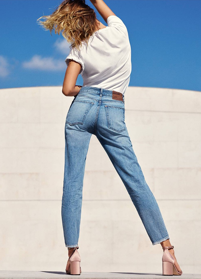 H&M Cotton T-Shirt, Vintage High Cropped Jeans and Open-Sided Pumps