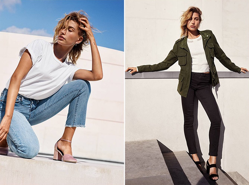 (Left) H&M Cotton T-Shirt, Vintage High Cropped Jeans and Open-Sided Pumps (Right) H&M Utility Jacket, Textured-Knit Sweater, Skinny Regular Ankle Jeans and Sandals