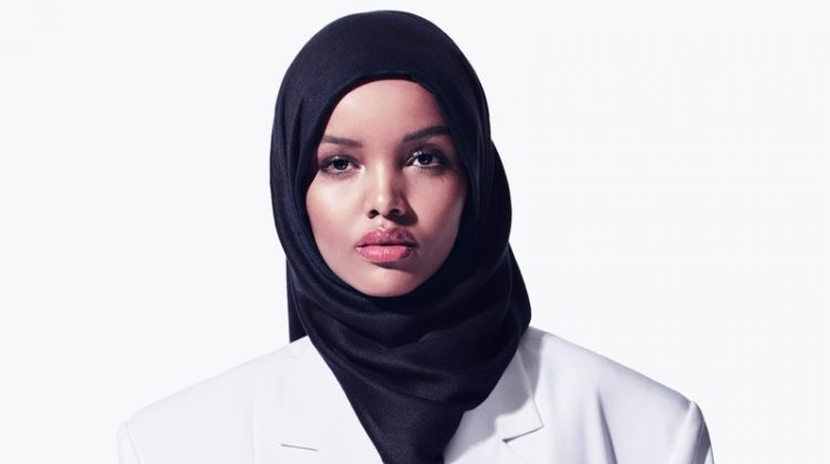 Halima Aden poses in Céline clothing