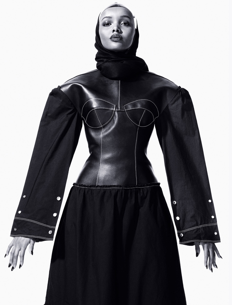 Halima Aden wears Loewe dress and Vex Clothing cap. Photo: CR Fashion Book