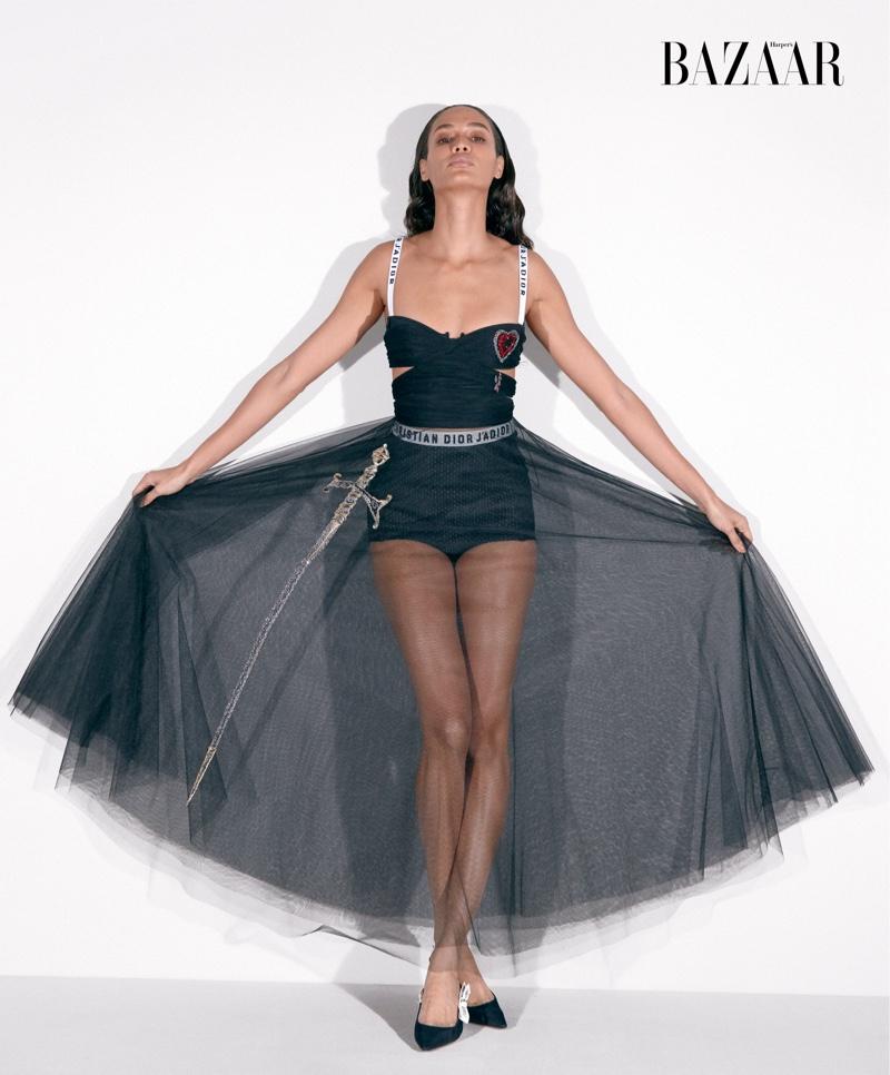 Joan Smalls wears Dior dress and heels. Photo: Harper's Bazaar/Bibi Cornejo Borthwick