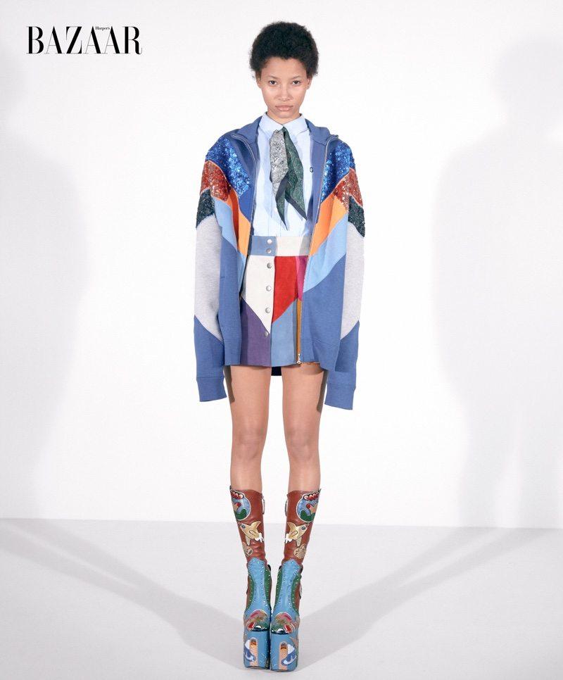 Lineisy Montero models Marc Jacobs jacket, top, skirt and platform boots