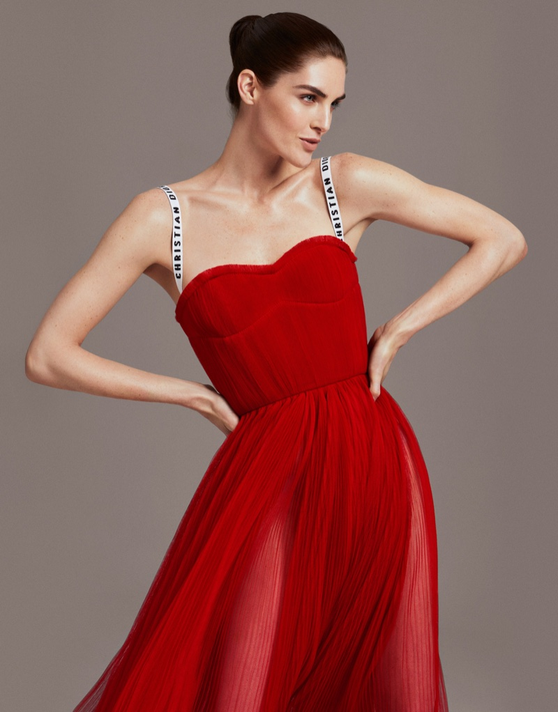 Hilary Rhoda models red dress from Dior