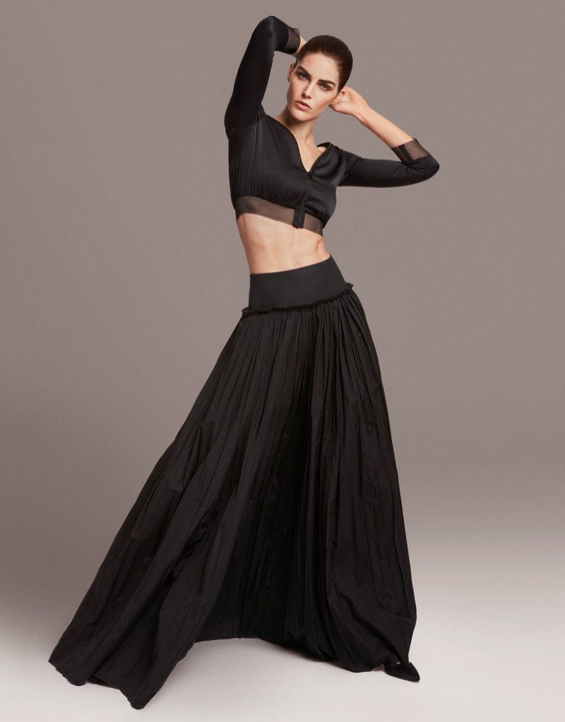 Flaunting her abs, Hilary Rhoda wears cropped top and maxi skirt