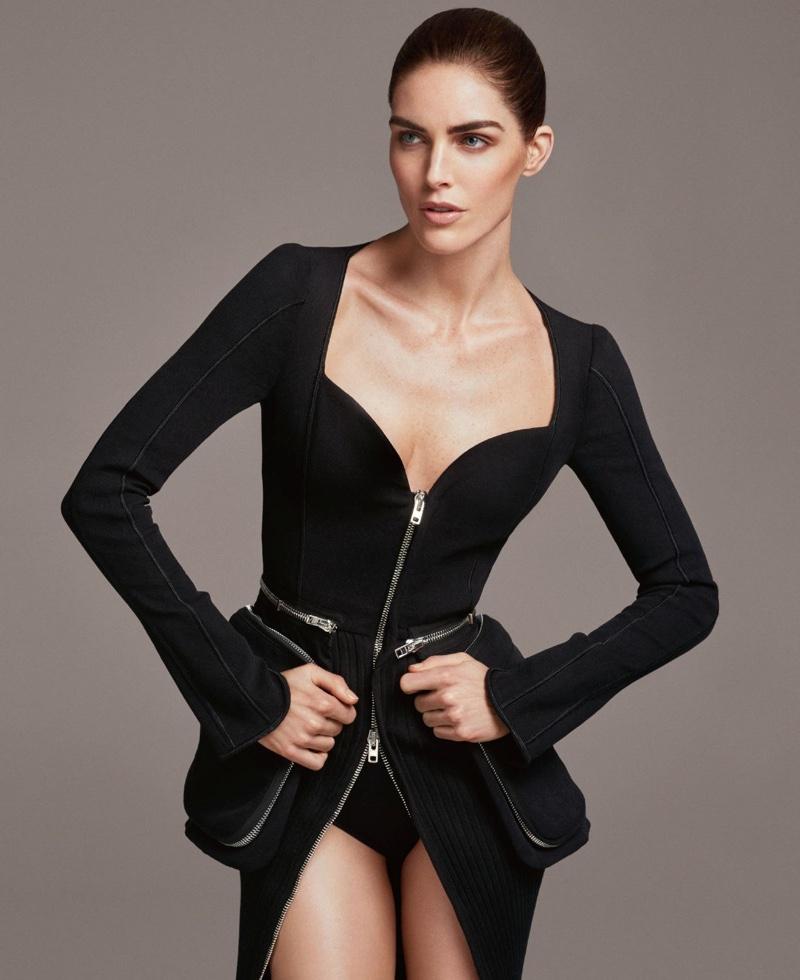 Model Hilary Rhoda wears Givenchy jacket with zipper detail