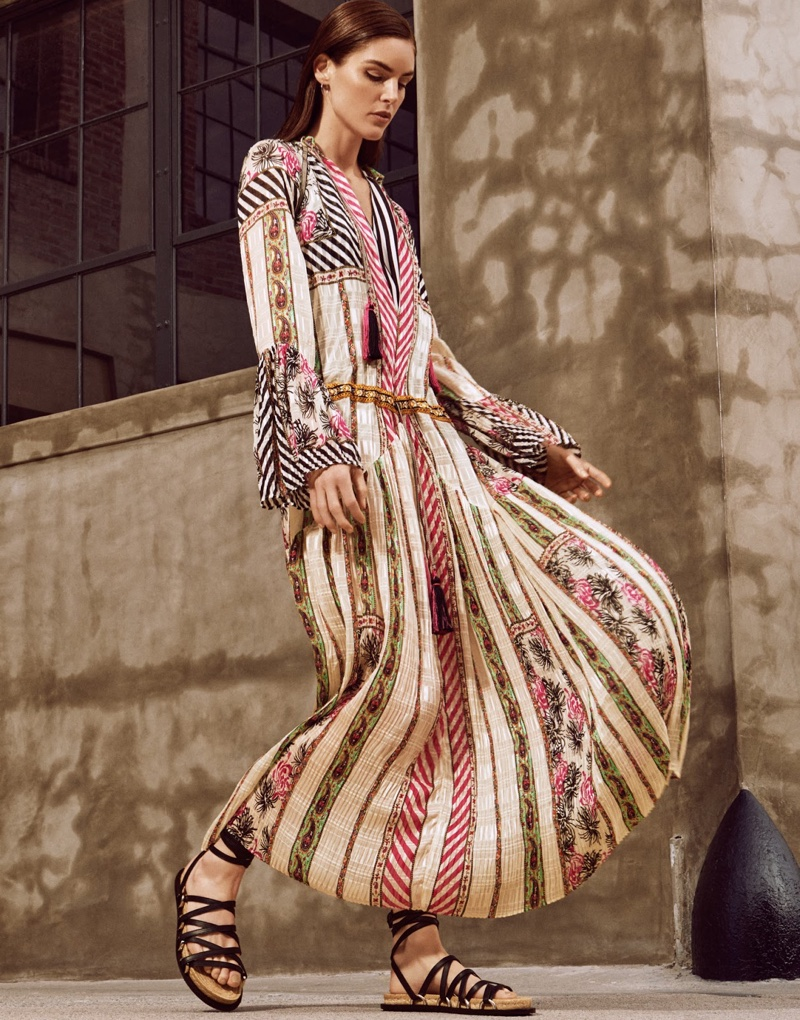 Looking bohemian chic, Hilary Rhoda poses in Etro printed dress and shirt with Alexander Wang sandals