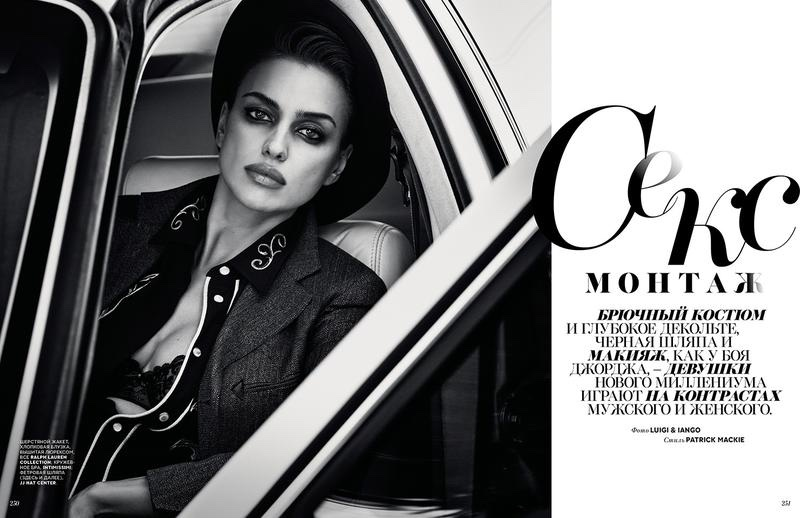 Irina Shayk poses in menswear inspired styles for the editorial