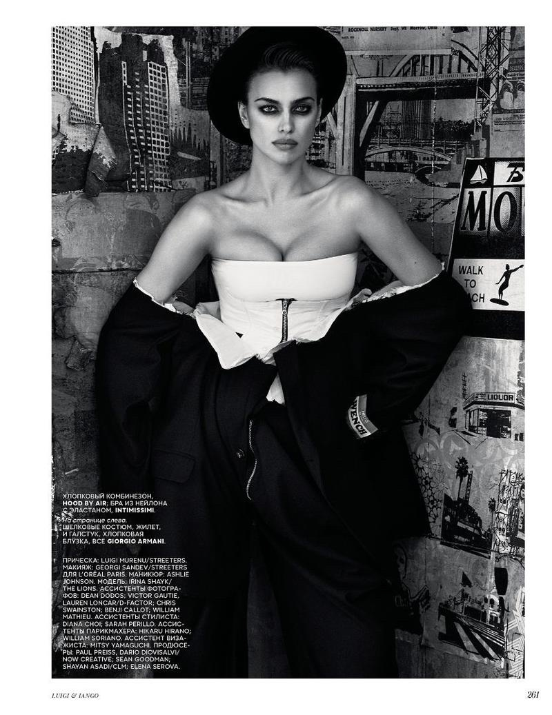 Model Irina Shayk wears Hood by Air Jacket and pants with Intimissimi corset