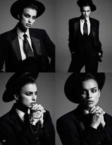 Irina Shayk Tries On Dapper Style for Vogue Russia Cover Story