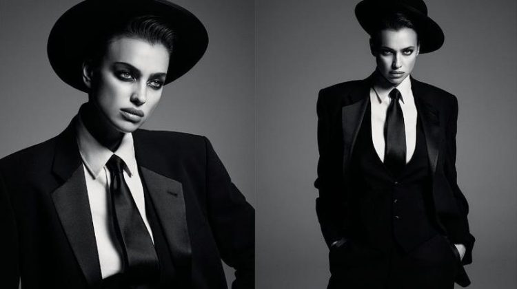 Suiting up, Irina Shayk looks sharp in a four-picture collage