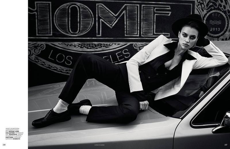Posing on a car, Irina Shayk rocks menswear inspired look