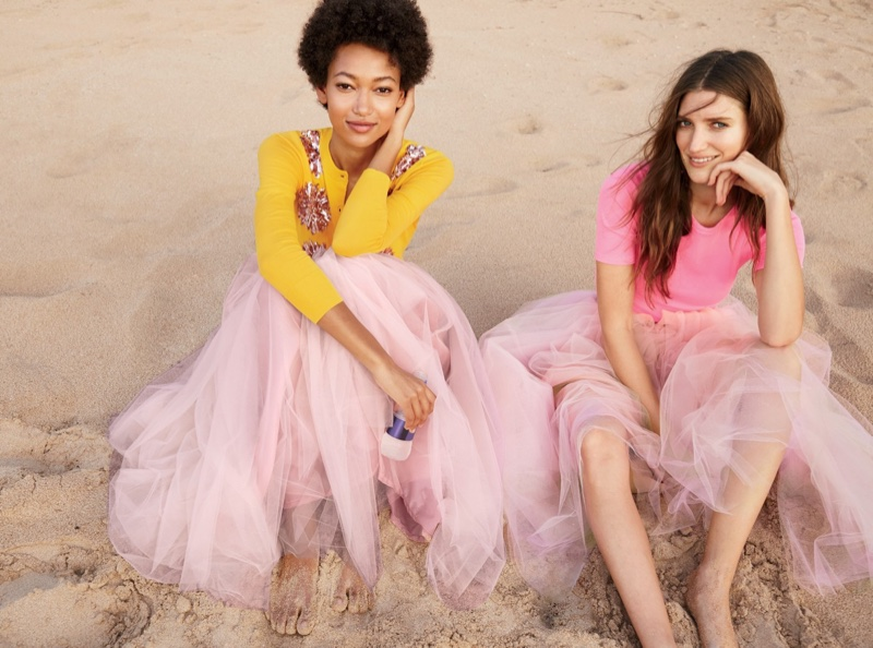 (Left) J. Crew Embellished Cotton Jackie Cardigan Sweater and Tulle Ball Skirt (Right) J. Crew Perfect-Fit T-Shirt and Tulle Ball Skirt