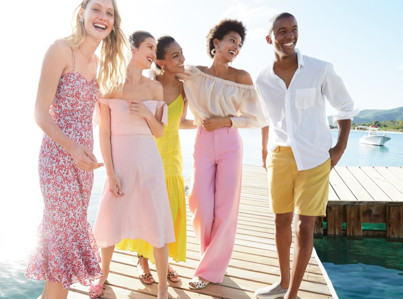 (Outer Left) J. Crew Ruffle-Hem Midi Dress in Liberty Wiltshire Floral (Middle Left) Tie-Shoulder Strapless Dress in Seersucker (Middle Right) Tiered Spaghetti-Strap Midi Dress in Eyelet (Outer Right) Collection Silk Organza Off-the-Shoulder Top and Collection Full-Length Wool-Silk Pant
