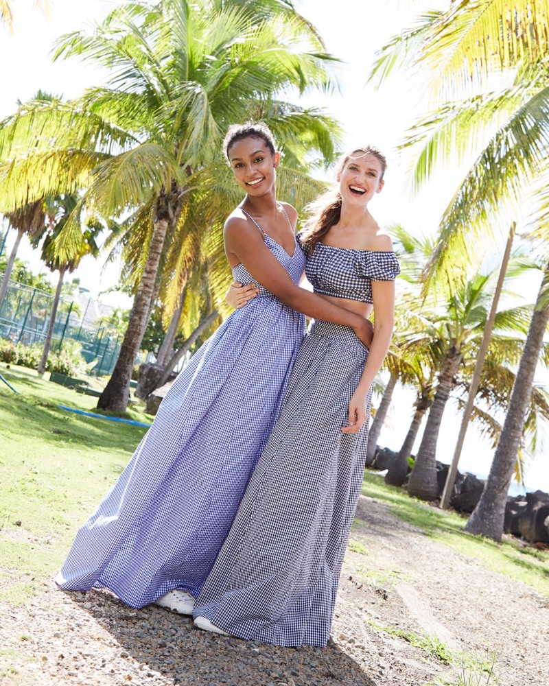(Left) J. Crew Long Spaghetti-Strap Dress in Gingham (Right) J. Crew Gingham Off-the-Shoulder Swim Top and Ball Skirt in Gingham