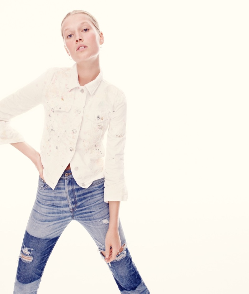 J. Crew Limited-Edition Denim Jacket in Paint Splatter and Point Sur Stevie X-Rocker Jean in Kirkby Wash