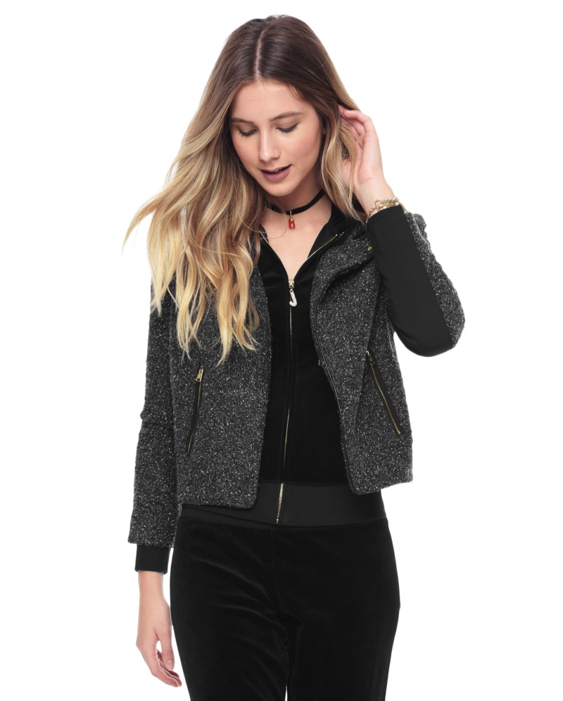 Juicy Couture Lurex Boucle Funnel Neck Jacket