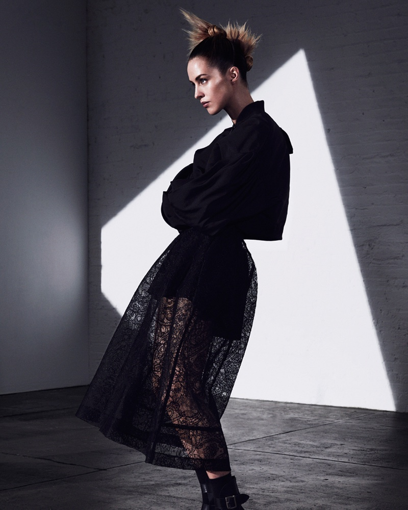Photographed by Andrew Yee, Julia Frauche wears all black looks in the editorial