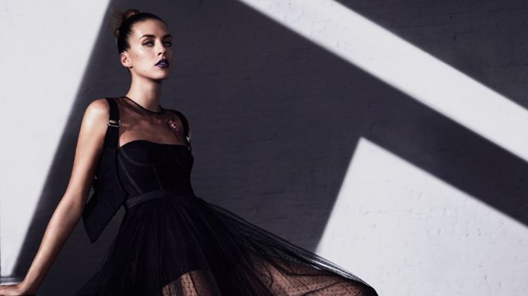 Model Julia Frauche wears Dior silk tulle dress and cotton top