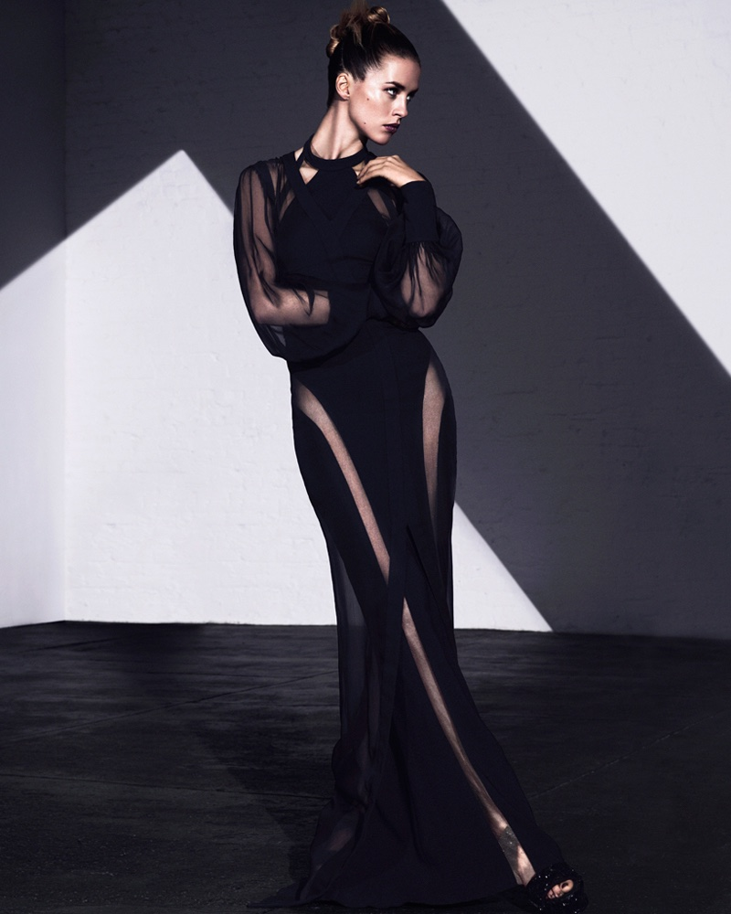 The model wears Balmain silk dress with Elie Saab leather platform shoes
